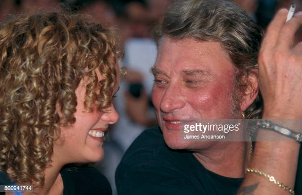 Johnny Hallyday and his fiancee Laetitia in Saint Tropez 8th July 1995
