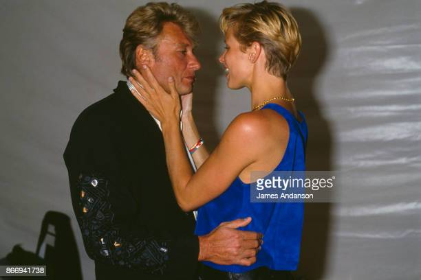 Johnny Hallyday and his fiancee Leah at the Aqua Party in Saint Tropez 14th July 1988