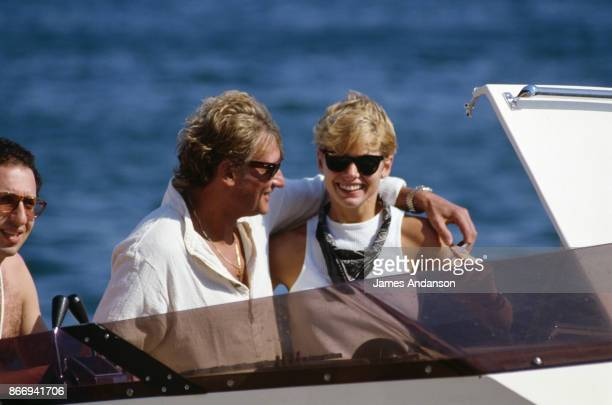 Johnny Hallyday and his fiancee Leah in Saint Tropez 14th July 1988