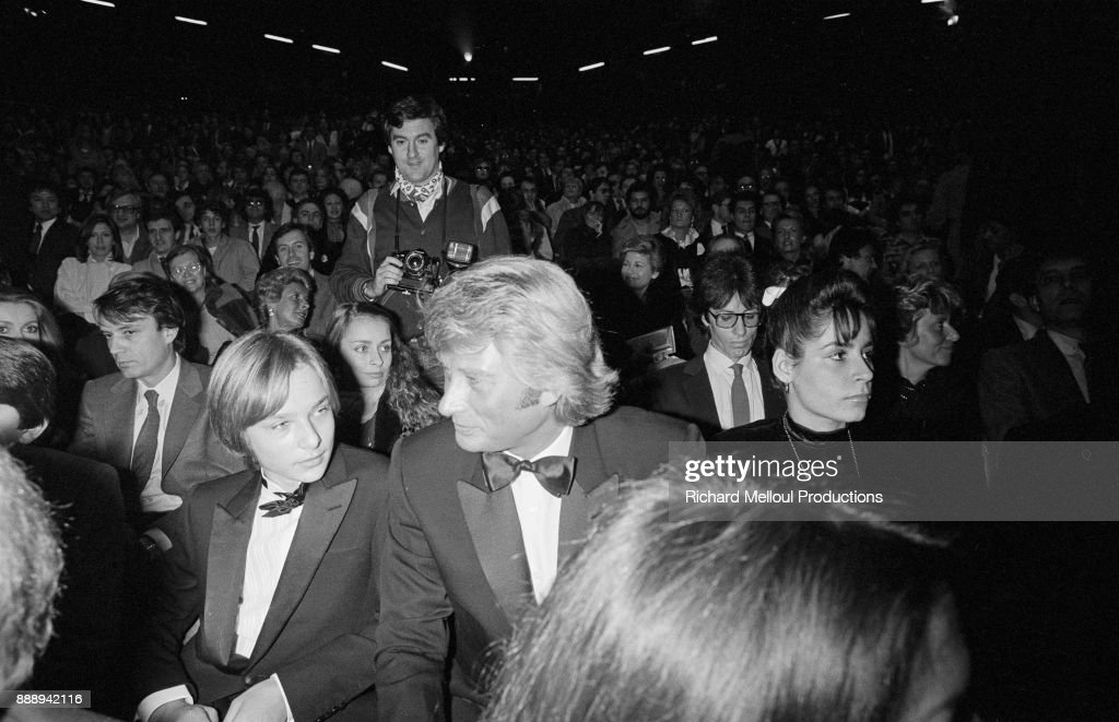 Johnny Hallyday and his son David Hallyday at Palais des Sports for the new show of Sylvie Vartan, Paris, 26th November 1981