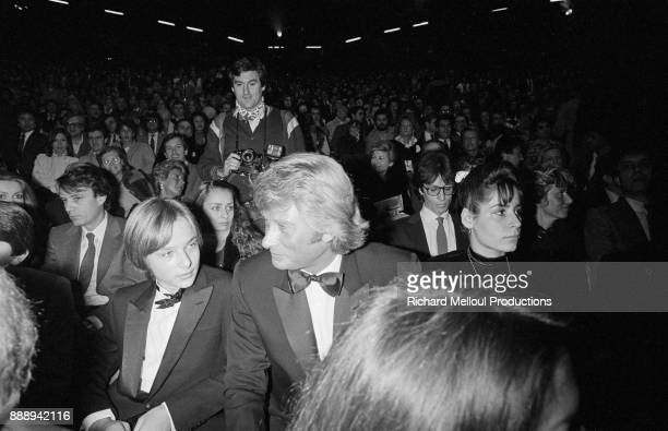Johnny Hallyday and his son David Hallyday at Palais des Sports for the new show of Sylvie Vartan Paris 26th November 1981