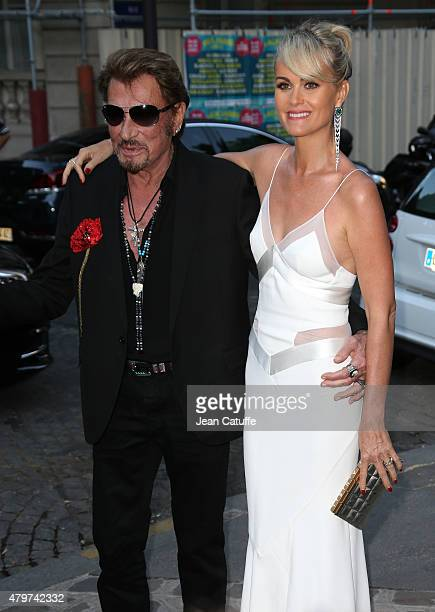 Johnny Hallyday and his wife Laeticia Hallyday attend the 'Vogue Paris Foundation' gala held at the Palais Galliera during Paris Fashion Week Haute...