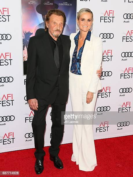 Johnny Hallyday and Laeticia Hallyday attend the AFI FEST 2016 Presented By Audi Opening Night Premiere Of 20th Century Fox's 'Rules Don't Apply' at...