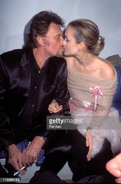 Johnny Hallyday and Laetitia Hallyday during France Boissons Party at the Amnesia Club at Amnesia Club in Paris France