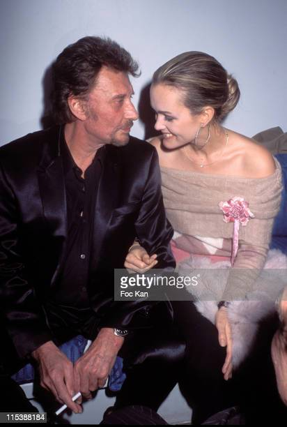"""Johnny Hallyday and Laetitia Hallyday during """"France Boissons"""" Party at the Amnesia Club at Amnesia Club in Paris, France."""