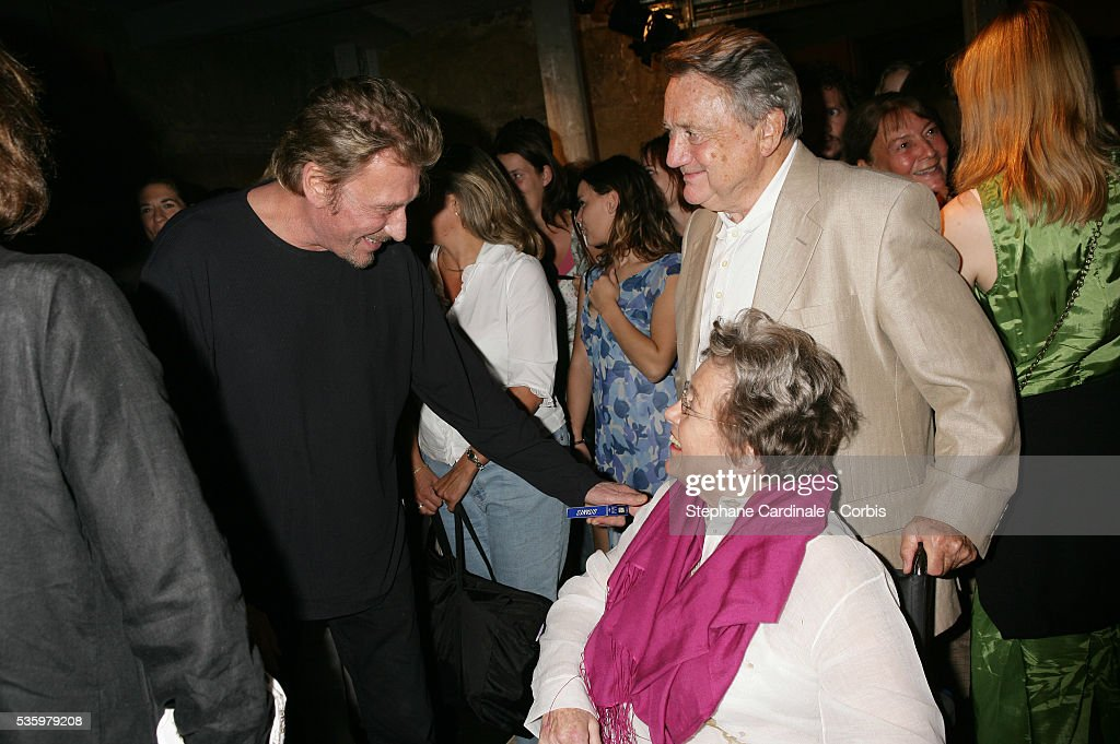 Johnny Hallyday and Marie Dubois and her husband attend the premiere of 'Entre ses mains' in Paris.