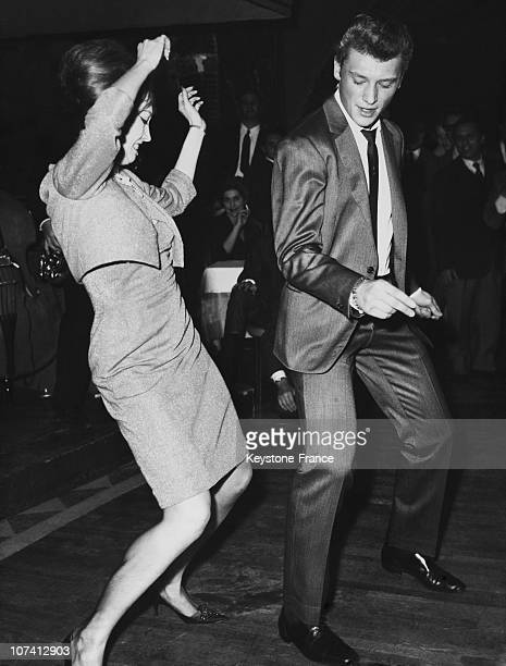 Johnny Hallyday And Valerie Camille Dancing Twist In Rome On November 1962