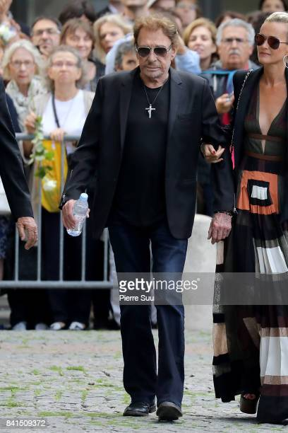Johnny Hallyday attends Mireille Darc's Funerals at Eglise SaintSulpice on September 1 2017 in Paris France