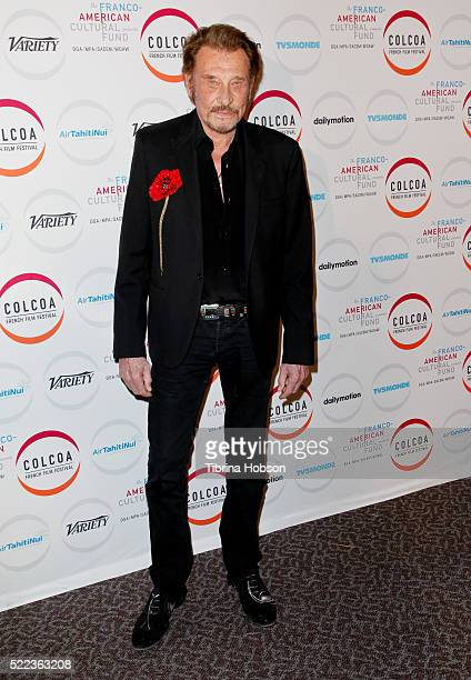 Johnny Hallyday attends opening night of the 20th annual COLCOA French Film Festival at Directors Guild of America on April 18, 2016 in Los Angeles,...