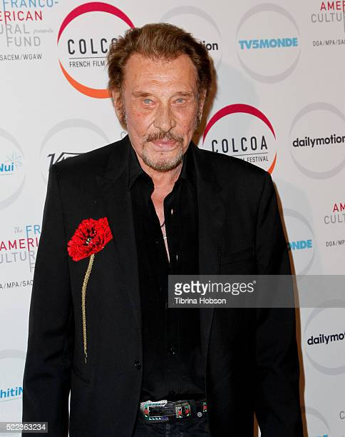 Johnny Hallyday attends opening night of the 20th annual COLCOA French Film Festival at Directors Guild of America on April 18 2016 in Los Angeles...