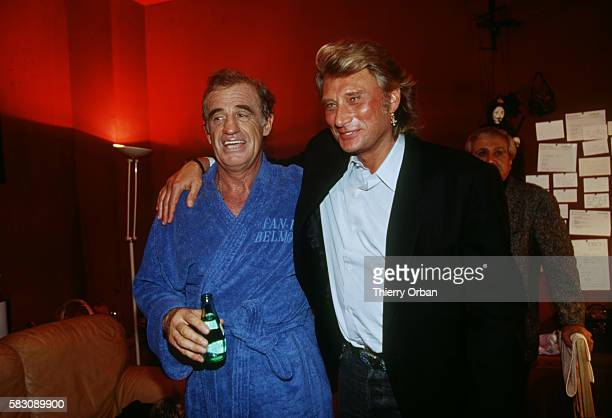 Johnny Hallyday came to congratulate JeanPaul Belmondo in his dressing room