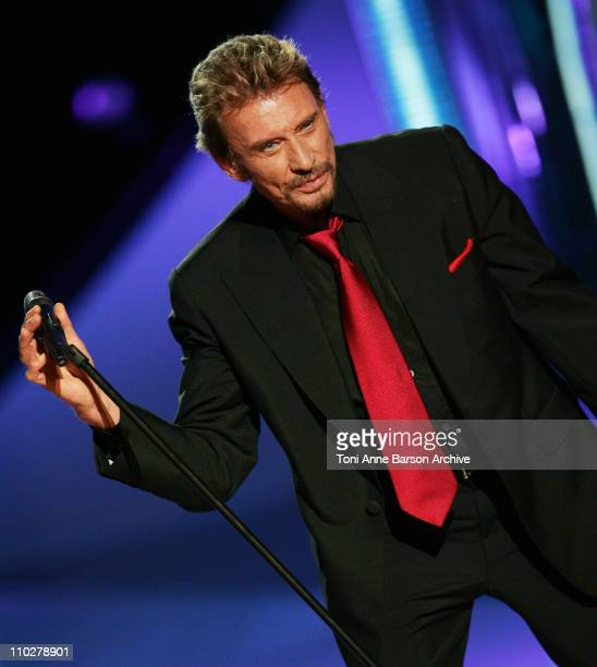 Johnny Hallyday during Miss France 2006 Pageant at Palais des Festivals in Cannes, France.