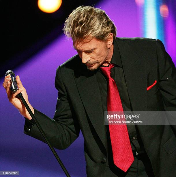 Johnny Hallyday during Miss France 2006 Pageant at Palais des Festivals in Cannes France