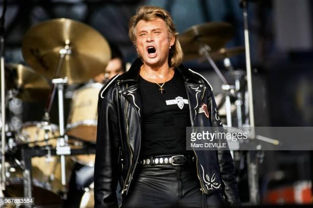Johnny Hallyday en concert à la Fête de l'Humanité le 15 septembre 1991 à La Courneuve France