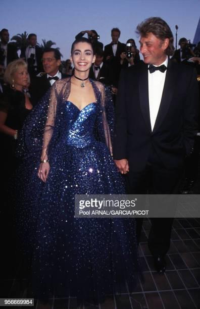 Johnny Hallyday et Adeline Blondieau au Festival de Cannes en mai 1992 France