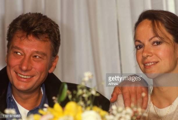 Johnny Hallyday et Gisèle Galante en France le 4 février 1988