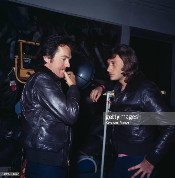 Johnny Hallyday et Philippe Labro à Nice France en mai 1971