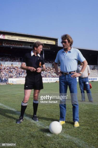 Johnny Hallyday French Singer give a kickoff during a Friendly match between Paris Saint Germain and Servette FC at Geneve Switzerland on 12th July...