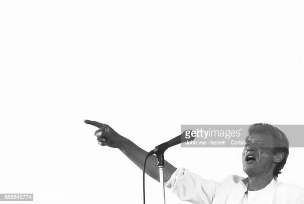 Johnny Hallyday gives a concert at La Fête de l'Humanité on September 15 1985 in La Courneuve near Paris