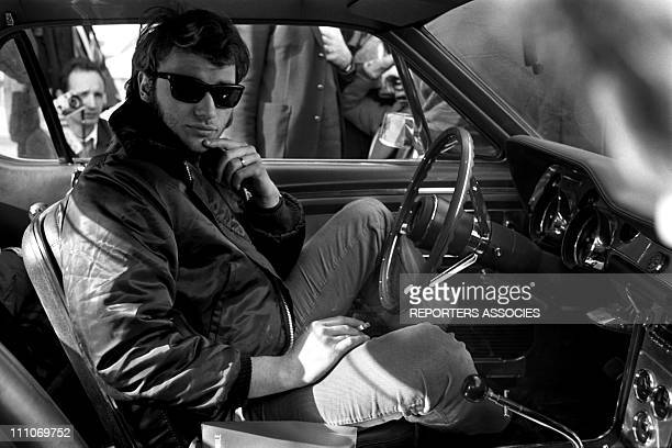 Johnny Hallyday in the sixties in France Arrival of Johnny Hallyday at the MonteCarlo rally in France on January 17 1961