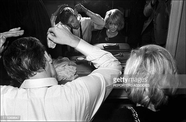 Johnny Hallyday in the sixties in France Johnny and Sylvie in the dressing room in France on December 24 1963