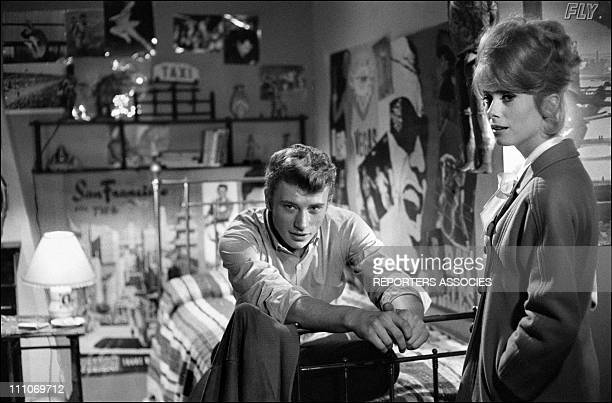 Johnny Hallyday in the sixties in France Johnny Hallyday and Catherine Deneuve on the set of Les Parisiennes in France in November 1961