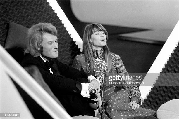Johnny Hallyday in the sixties in France Johnny Hallyday and Francoise Hardy in France on April 21 1969