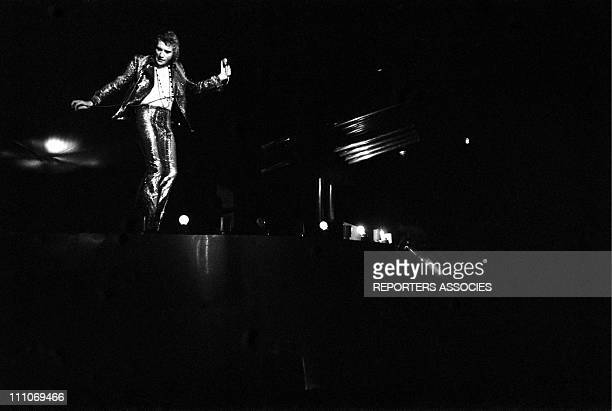 Johnny Hallyday in the sixties in France Johnny Hallyday on stage at the Palais des Sports in Paris France on April 28 1969
