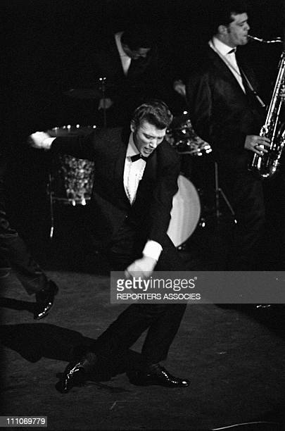 Johnny Hallyday in the sixties in France Premiere of 'Les Parisiennes' Johnny Hallyday on stage in France in January 1962