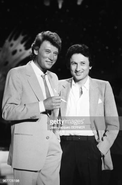 Johnny Hallyday invité de l'émission de Michel Drucker 'Champs Elysées' le 23 juin 1983 Paris France