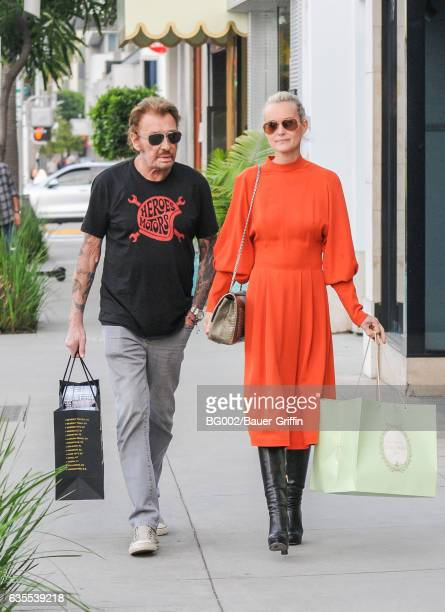 Johnny Hallyday is seen with his wife Laeticia on February 15 2017 in Los Angeles California