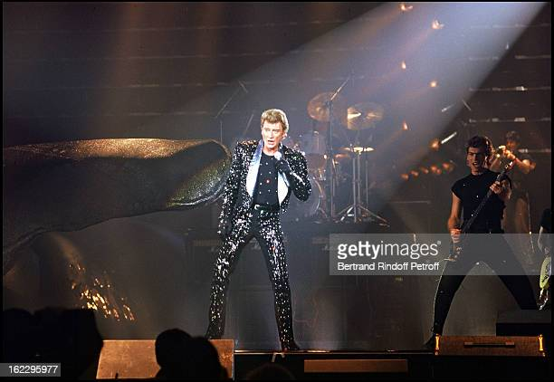 Johnny Hallyday on stage for his concert at the 'Zenith' Paris
