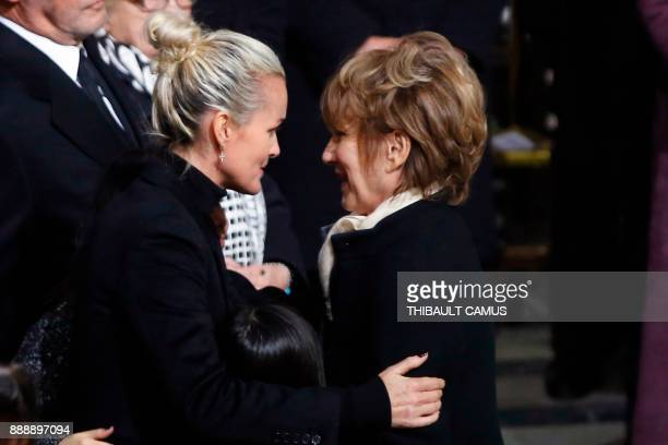Johnny Hallyday's former companion French actress Nathalie Baye gives condolences to Laeticia Hallyday the widow of French musician Johnny Hallyday...