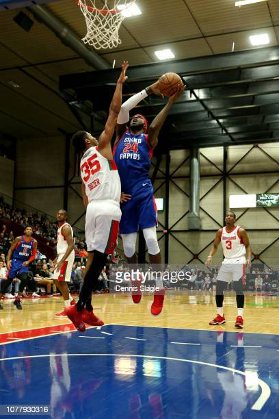 Johnny Hamilton of the Grand Rapids Drive dunks the ball against the Maine Red Claws at The DeltaPlex Arena for the NBA GLeague on January 05 2019 in...