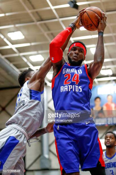 Johnny Hamilton of the Grand Rapids Drive grabs a rebound against the Texas Legends on December 12 2018 at DeltaPlex Arena in Grand Rapids Michigan...