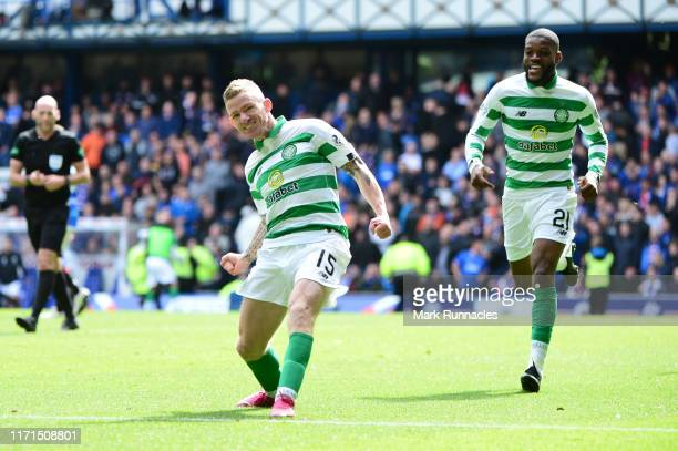 Johnny Hayes of Celtic celebrates after scoring his team's second goal during the Ladbrokes Premiership match between Rangers and Celtic at Ibrox...