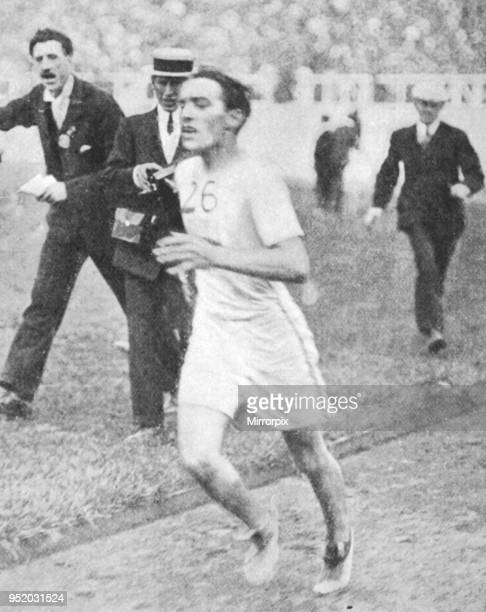 Johnny Hayes wins the marathon. Second over the line he was declared the winner after Dorando Pietri was disqualified in the marathon during the 4th...