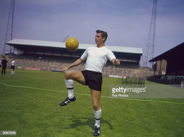 Johnny Haynes of Fulham Football Club shows some moves with the ball