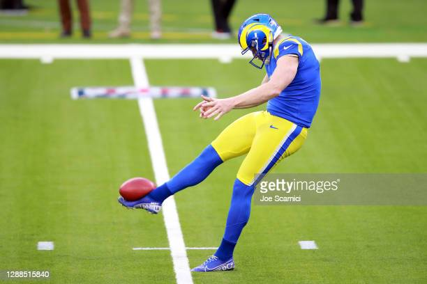 Johnny Hekker of the Los Angeles Rams punts during the second half against the San Francisco 49ers at SoFi Stadium on November 29, 2020 in Inglewood,...