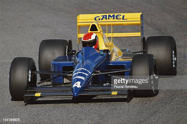 Johnny Herbert of Great Britain drives the Tyrrell Racing Organisation Tyrrell 018 Ford V8 during qualifying for the Portuguese Grand Prix on 23rd...