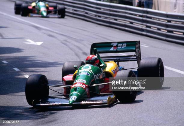 Johnny Herbert of Great Britain enroute to placing 14th, driving a Benetton B188 with a Ford V8 engine for the Benetton Formula Team, during the...