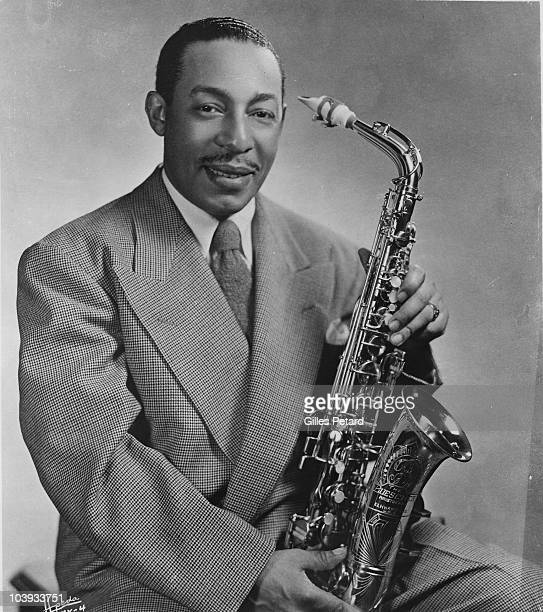 Johnny Hodges poses for a studio portrait in 1945 in the United States