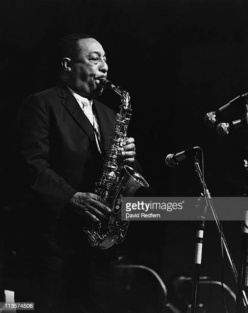Johnny Hodges US jazz saxophonist playing the saxophone during a live concert performance circa 1970