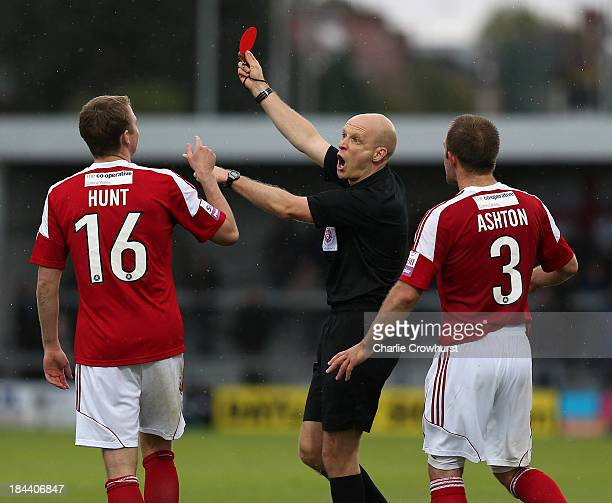 Johnny Hunt of Wrexham is shown a red card bay referee Nick Kinseley for a rought tackle on Curtis Weston of Barnet resulting in a serious leg injury...