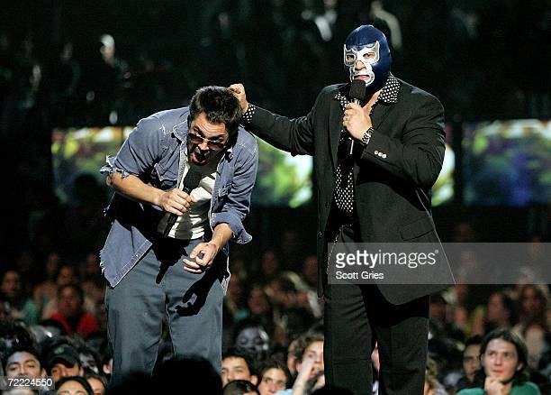 Johnny Knoxville and Blue Demon appear onstage at the Los Premios MTV Latino America 2006 at the Palacio De Los Deportes October 19 2006 in Mexico...