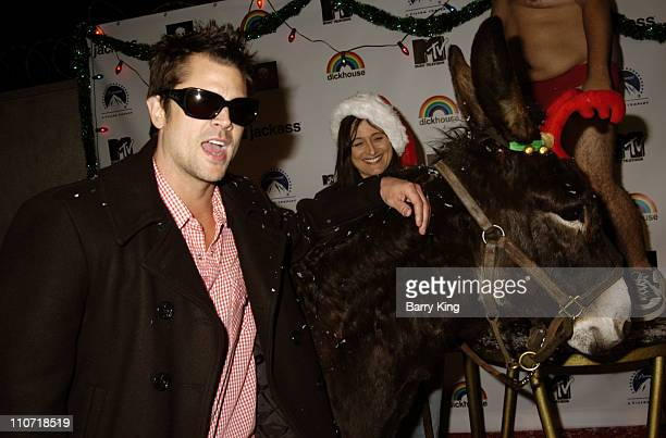 Johnny Knoxville and JoJo the Donkey during Jackass Jingle Balls Ball Party for 'Jackass The Box Set' DVD Release at Circus Nightclub in Hollywood...