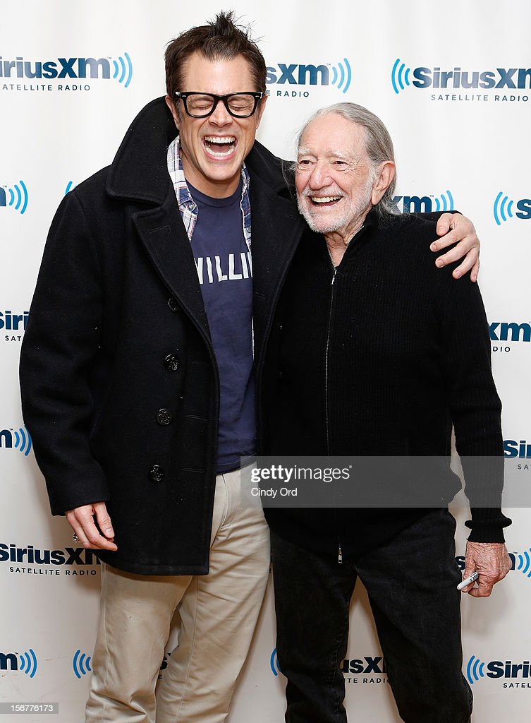 Johnny Knoxville and Willie Nelson visit the SiriusXM Studios on November 20, 2012 in New York City.