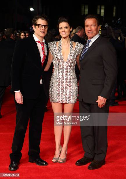 Johnny Knoxville, Jaimie Alexander and Arnold Schwarzenegger attend the European Premiere of The Last Stand at Odeon West End on January 22, 2013 in...