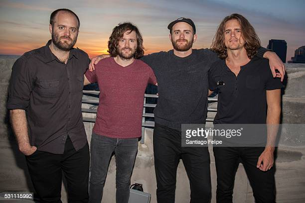 Johnny Kongos Jesse Kongos Daniel Kongos and Dylan Kongos attend the Kongos' Egomaniac Album Release And Listening Party at Sony Rooftop on May 12...