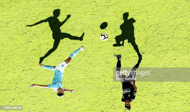Johnny Koutroumbis of the Jets and Riley McGree of City compete for the ball during the round 11 ALeague match between Melbourne City and the...